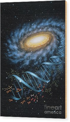 Dna Galaxy Wood Print