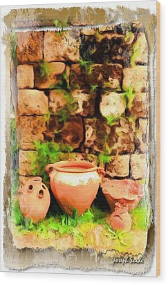 Wood Print featuring the photograph Do-00348 Jars In Byblos by Digital Oil