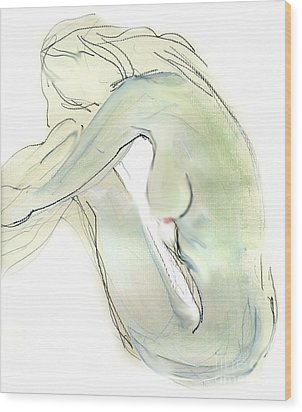 Do You Think - Female Nude Wood Print by Carolyn Weltman