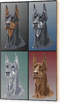 Doberman Colors Wood Print by Kathie Miller