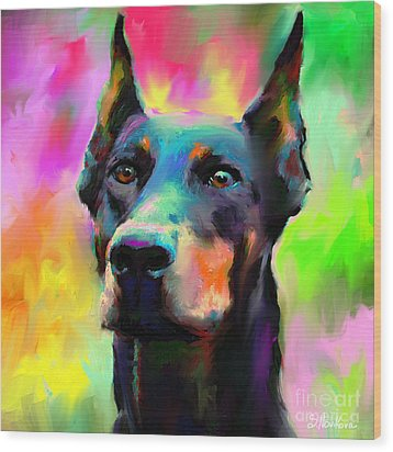 Doberman Pincher Dog Portrait Wood Print by Svetlana Novikova