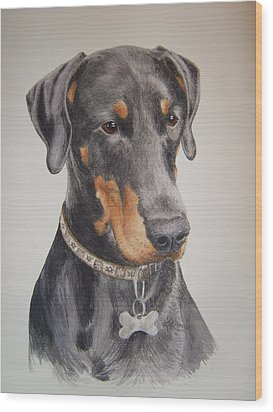 Dobermann Wood Print by Keran Sunaski Gilmore