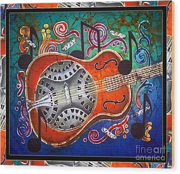 Dobro - Slide Guitar-bordered Wood Print by Sue Duda