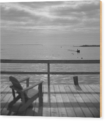 Dock And Chair Wood Print