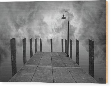 Dock And Clouds Wood Print by Dave Gordon