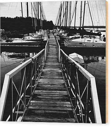 Dock And Sailboats Wood Print by Kevin Mitts