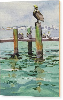 Wood Print featuring the painting Dock O' The Bay by Kris Parins