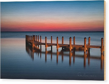 Dock On Currituck Sound 5665 Wood Print by Dan Beauvais