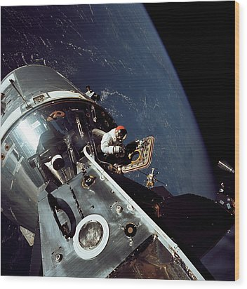 Docked Apollo 9 Command And Service Wood Print by Stocktrek Images