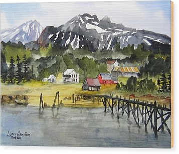 Docked At Haines Alaska Wood Print