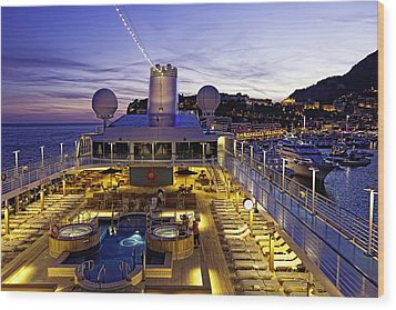 Docked In Monte Carlo Wood Print by Janet Fikar
