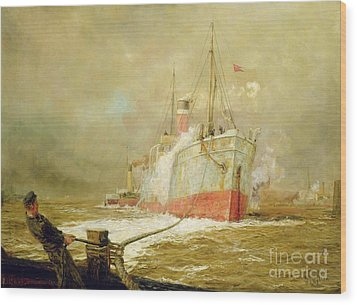 Docking A Cargo Ship Wood Print by William Lionel Wyllie