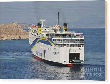 Docking Ferry On Halki Wood Print