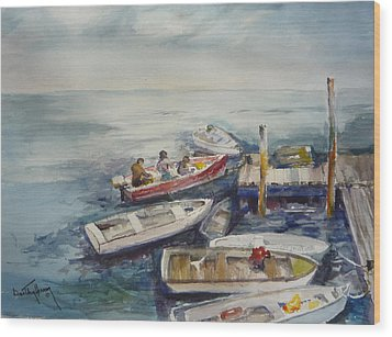Dockside Wood Print by Dorothy Herron