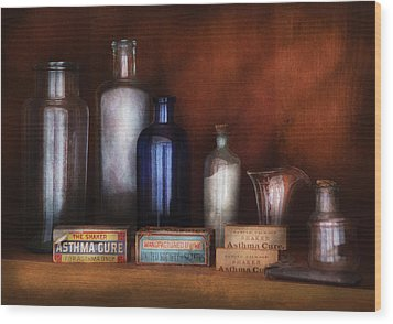 Doctor - Asthma Cures Wood Print by Mike Savad