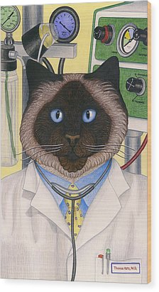 Doctor Cat Wood Print by Carol Wilson