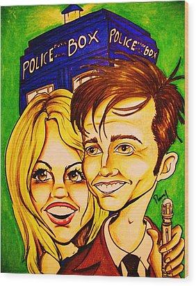 Doctor Who Wood Print by Penny  Elliott