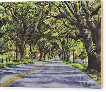 Docville Oaks Wood Print by Elaine Hodges