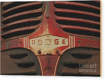 Dodge 41 Grill Wood Print by Steve Augustin