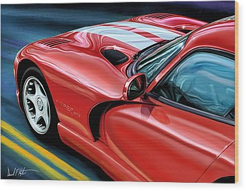 Dodge Viper Coupe Wood Print by David Kyte