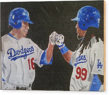 Dodgers Duo Wood Print by Daryl Williams Jr