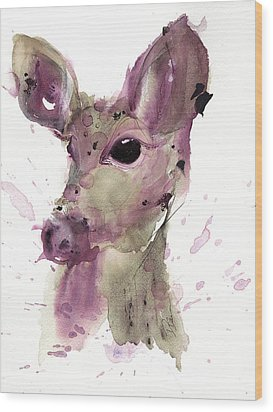 Wood Print featuring the painting Doe by Dawn Derman