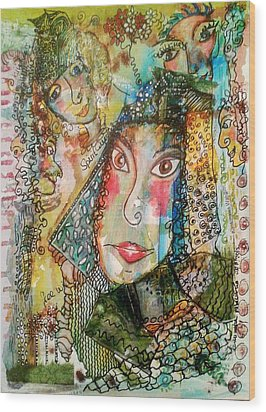 Wood Print featuring the mixed media Doe Eyed Girl And Her Spirit Guides by Mimulux patricia no No