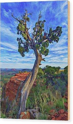 Doe Mountain Juniper Wood Print