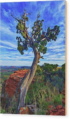Doe Mountain Juniper Wood Print by ABeautifulSky Photography
