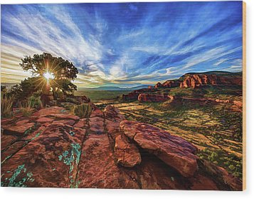 Wood Print featuring the photograph Doe Mountain Sunset by ABeautifulSky Photography