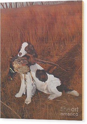Dog And Pheasant Wood Print