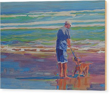 Wood Print featuring the painting Dog Beach Play by Thomas Bertram POOLE