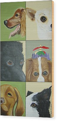 Dog Faces Of Love Wood Print