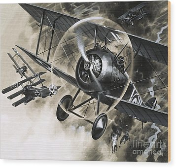 Dog Fight Between British Biplanes And A German Triplane Wood Print by Wilf Hardy