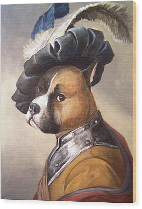 Wood Print featuring the painting Dog In Gorget And Cap by Laura Aceto