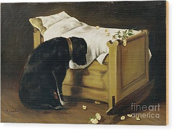 Dog Mourning Its Little Master Wood Print by A Archer