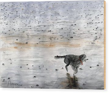 Dog On Beach Wood Print by Chriss Pagani