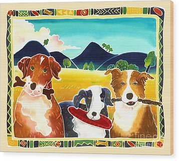 Dog Play Wood Print by Harriet Peck Taylor
