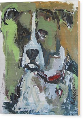 Wood Print featuring the painting Dog Portrait by Robert Joyner