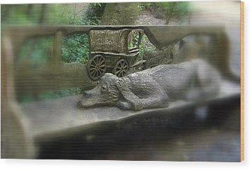 Dog Resting Wood Print by Linda Hansen