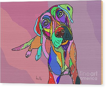 Dog Sketch Psychedelic  01 Wood Print