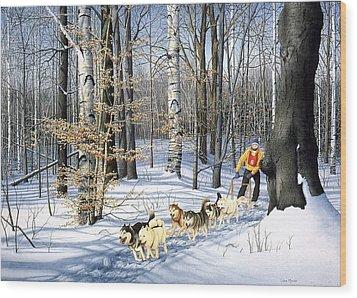 Dog-sled Racing Wood Print by Conrad Mieschke