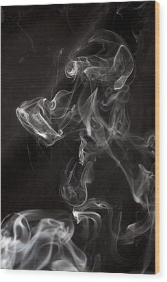 Dog Smoke Wood Print by Garry Gay