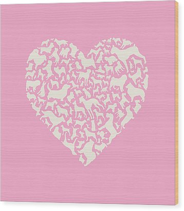 Dog Valentine Wood Print