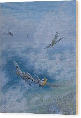 Dogfight Over Dieppe 19 August 1942 Wood Print by Elaine Jones