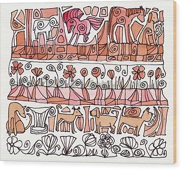 Dogs And Shapes Wood Print by Linda Kay Thomas
