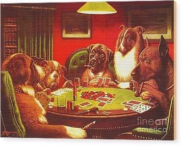 Dogs Playing Poker Wood Print