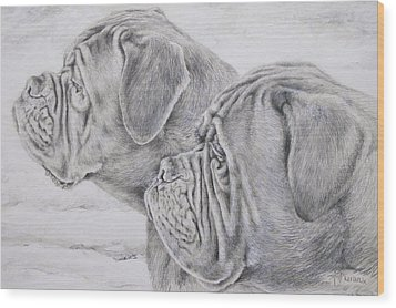 Dogue De Bordeaux Wood Print by Keran Sunaski Gilmore