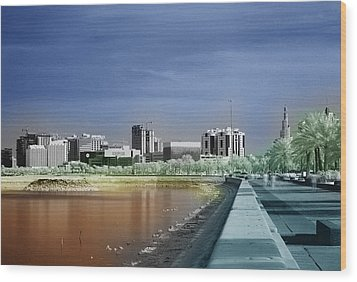 Doha Corniche In Infra-red Wood Print by Paul Cowan