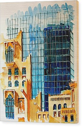 Doha Reflections Wood Print by Mike Shepley DA Edin